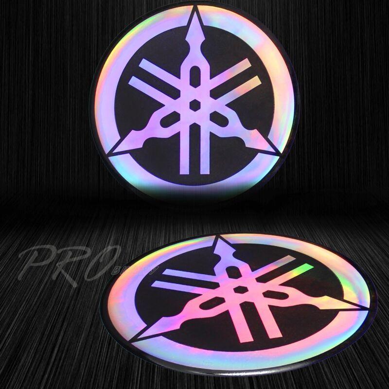 "2-1/8"" 3D ""Laser"" Emblem Decal Logo Fairing/Fender Sticker for Yamaha Neo Chrome"