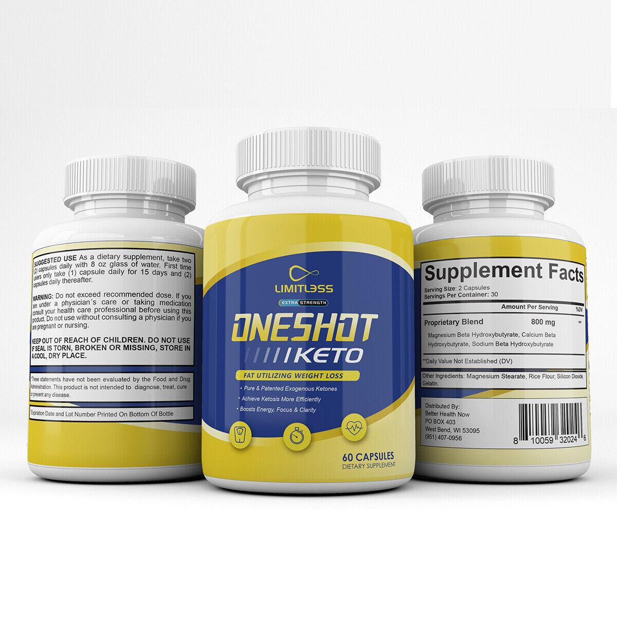 One Shot Keto Pills - Limitless Oneshot Keto Capsules - 5 Month Supply 2