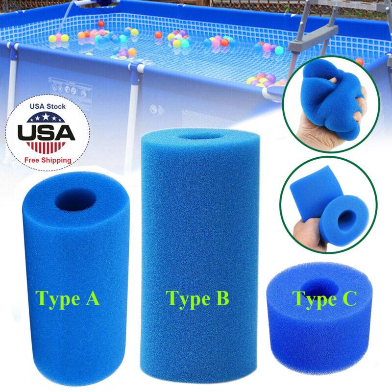 Washable Swimming Pool Filter Foam Sponge Cartridge For Intex Type A/C/S1 Blue 2