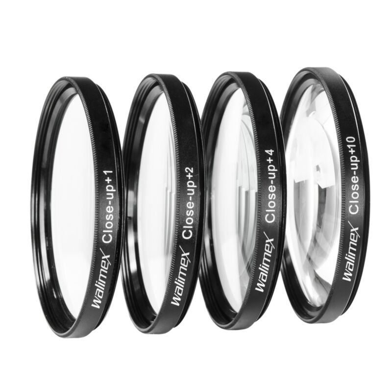walimex Close up Makrolinsen Set 52 mm 4er Set: +1, +2, +4 und +10 Dioptrien