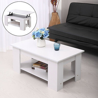 White Modern Wood Lift Top Coffee Table with Storage Space Living Room Furniture