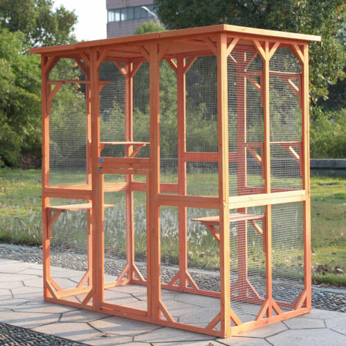 Large Wooden Cat Run House Enclosure Outdoor Animal Catio Cage w/ 6 Platforms