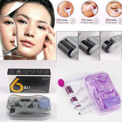 6 in 1 Facciale Cura Della Pelle Titanio Micro Aghi Derma Roller Kit 0.5 - 2mm