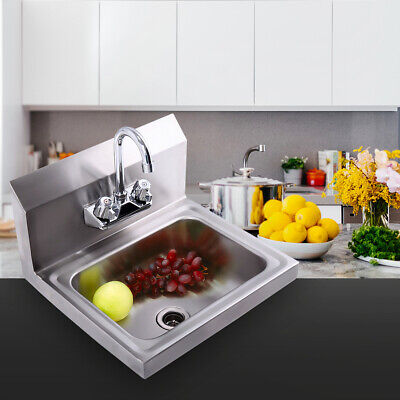 Commercial Stainless Steel Hand Wash Sink Washing Wall Mount With Faucet Kitchen