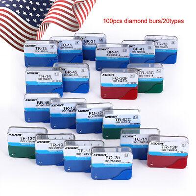 USPS! 100pcs Dental Diamond Burs for High Speed Handpiece Medium FG 1.6M AZDENT