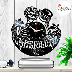 Grateful Dead Skull Vinyl Record Wall Clock Best Gifts Art Decor Stuff Present
