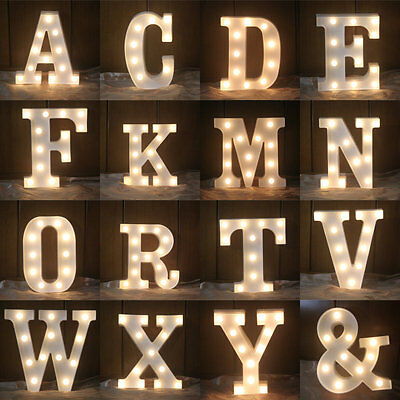 (Fashion 26 Letters LED Night Light Marquee Sign Alphabet Lamp Party Wall Decor)