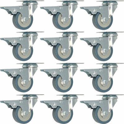 12 Pack 2 Swivel Total Lock Brake Polyurethane Plate Caster Pu