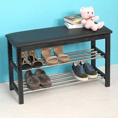 Black Modern Home Furniture Shoe Rack Bench Entryway w/ 2-Tier Storage Shelf