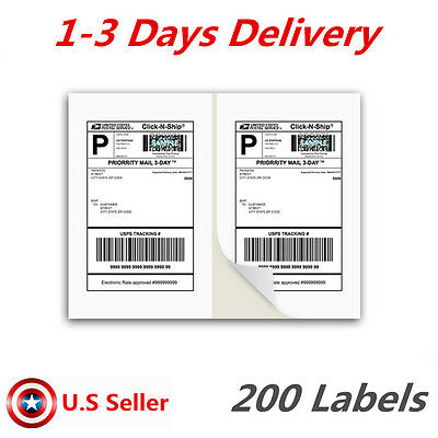 Labels 8 5 X 5 5  11  200 Shipping Label Half Sheet Self Adhesive Ups Usps Fedex
