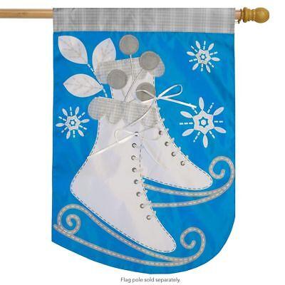 "Ice Skates Winter Applique House Flag Seasonal 28"" x 40"" Briarwood Lane"