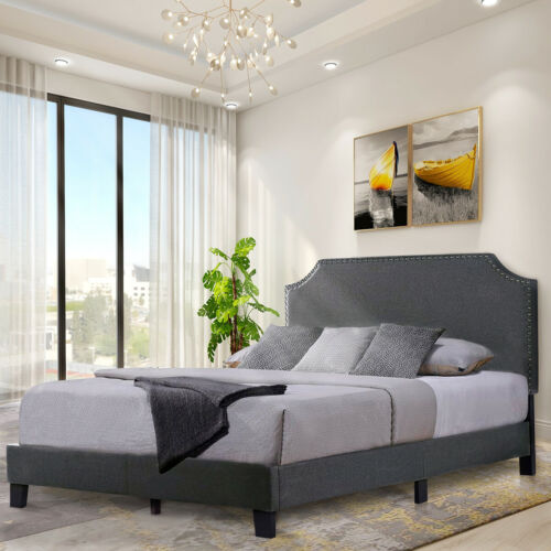 full queen size bed frame platform upholstered