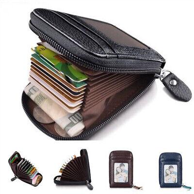 US Men's Leather Wallet Credit Card Holder RFID Blocking Zipper Thin Pocket