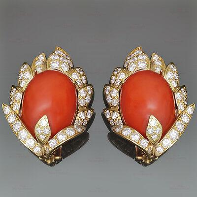 VOURAKIS 18K YG Oxblood Coral Diamond  Ear-clips. Attributed Van Cleef & Arpels
