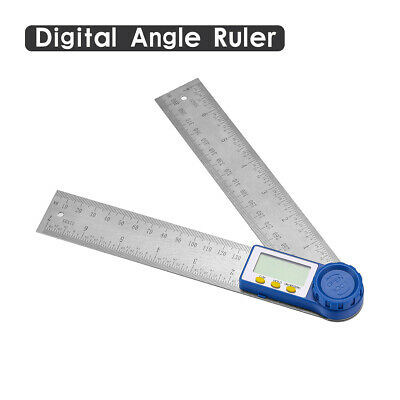 8 Electronic Digital Angle Finder Protractor Ruler Stainless Lcd With Batteries