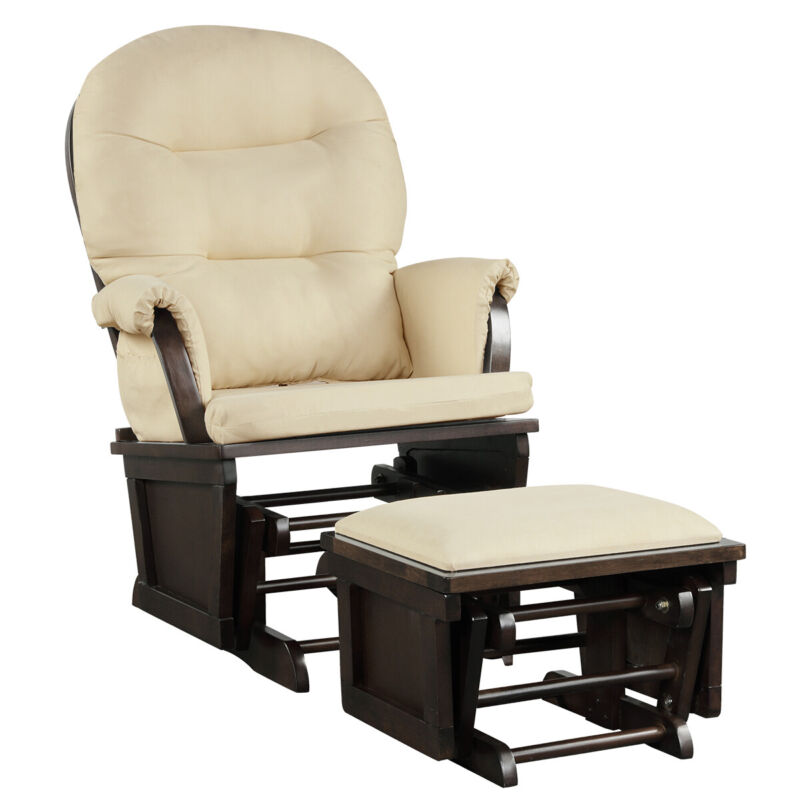 Baby Nursery Relax Rocker Rocking Chair Glider & Ottoman Set w/Cushion Beige