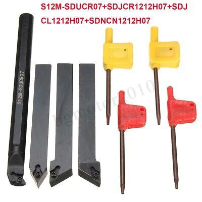 4x Set Of 12mm Lathe Turning Tool Holder Borning Bar For Dcmt0702 Insert