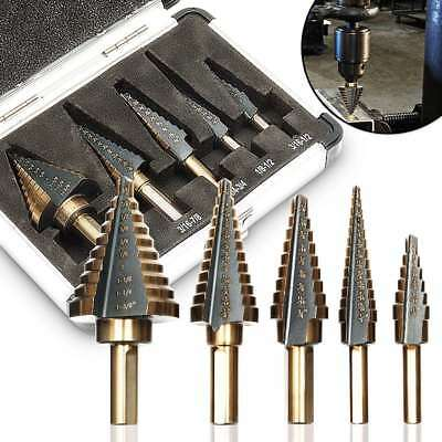 5PCS  Large HSS Hole Titanium Cone Step Drill Bit Cutter Set Tools w/Case