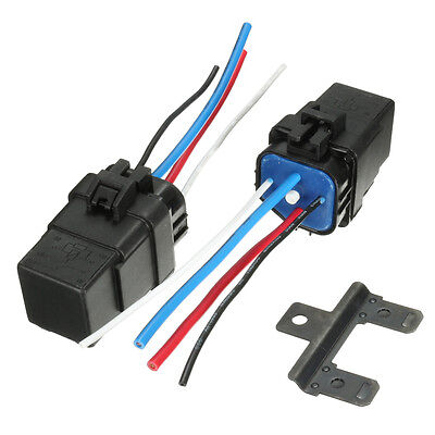 2pcs Automobile Relay 12v Dc 40a 4pin Waterproof Integrated Car Auto Socket