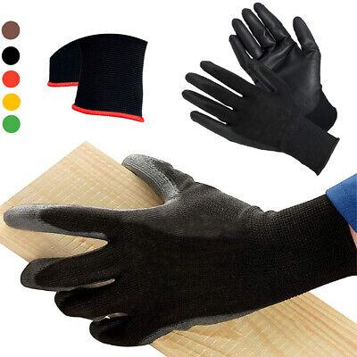 10 Pairs Work Gloves Ultra-thin Safety Polyurethane Coated Nylon Shell Black