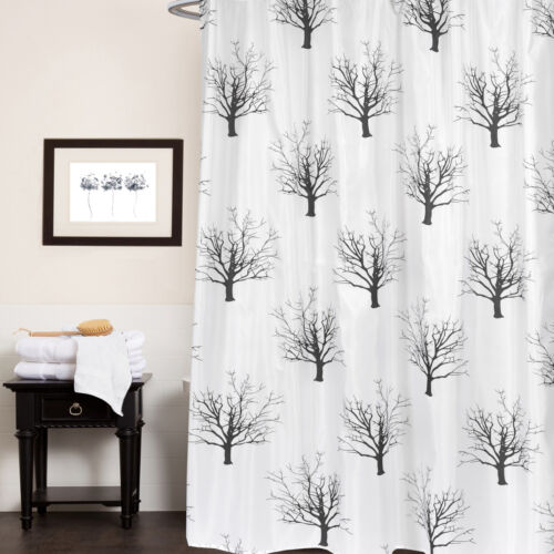 Polyester Fabric Shower Curtain 70″x72″ Faith Black & White Tree Print Bath