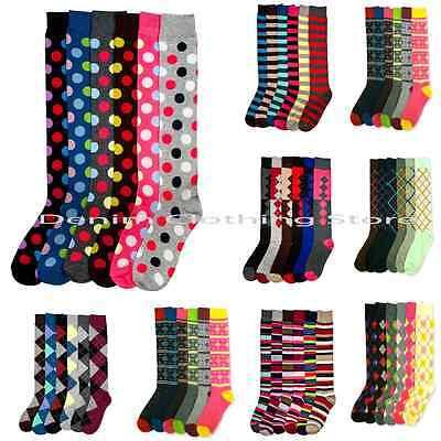 6~12 Women's Winter Knee High Socks Boot  Argyle Stripe Dot Casual Girl 9-11 Lot (Girls Boot Socks)