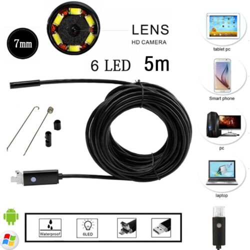 10M 7MM Android PC HD Endoscope Waterproof Snake Borescope USB Inspection Camera