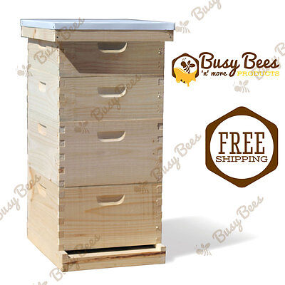 Langstroth Bee Hive 10 Frame 2 Deep 2 Medium Includes All Frames Foundations