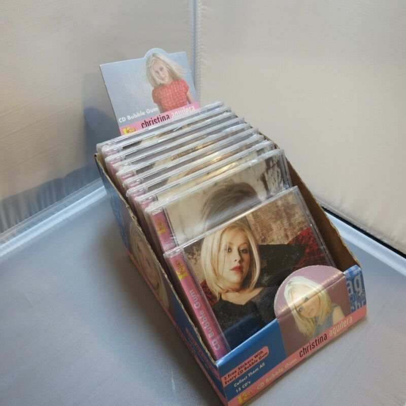 RARE LOT OF 10 CHRISTINA AGUILERA CD CDs KOKOs BUBBLE GUM w/ DISPLAY BOX STANDEE