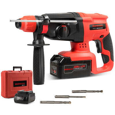Ironmax 20v Cordless Lithium-ion Sds Plus Rotary Hammer Drill 3 Mode Wdrill Bit