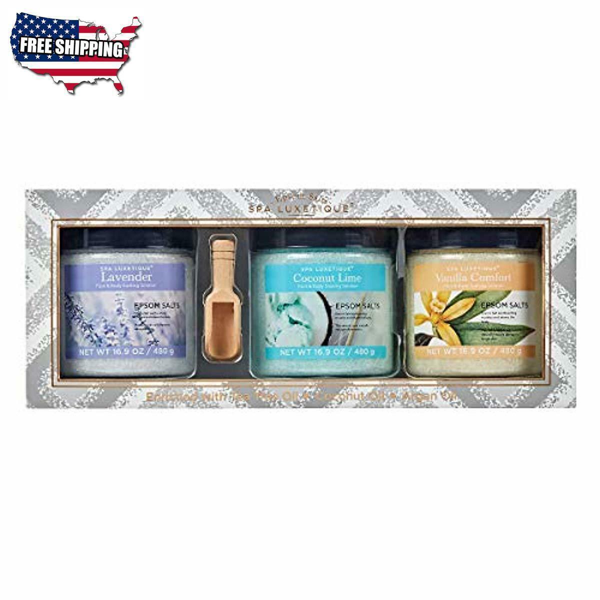 Bath Spa Premium Salts 3 Pack 1lb Each Lavender Coconut Vani