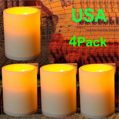 "4Pcs Large 4.5"" Flicker Flameless LED Pillar Candle Light Pa"