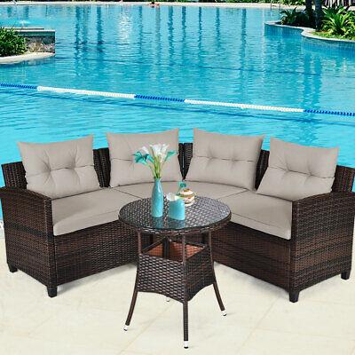 Garden Furniture - 4PCS Outdoor Patio Rattan Furniture Set Cushioned Sofa Table Sectional Garden
