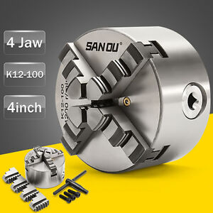 4 Jaw K12-100 4'' Lathe Chuck Self Centering Hardened Steel CNC Drilling Milling