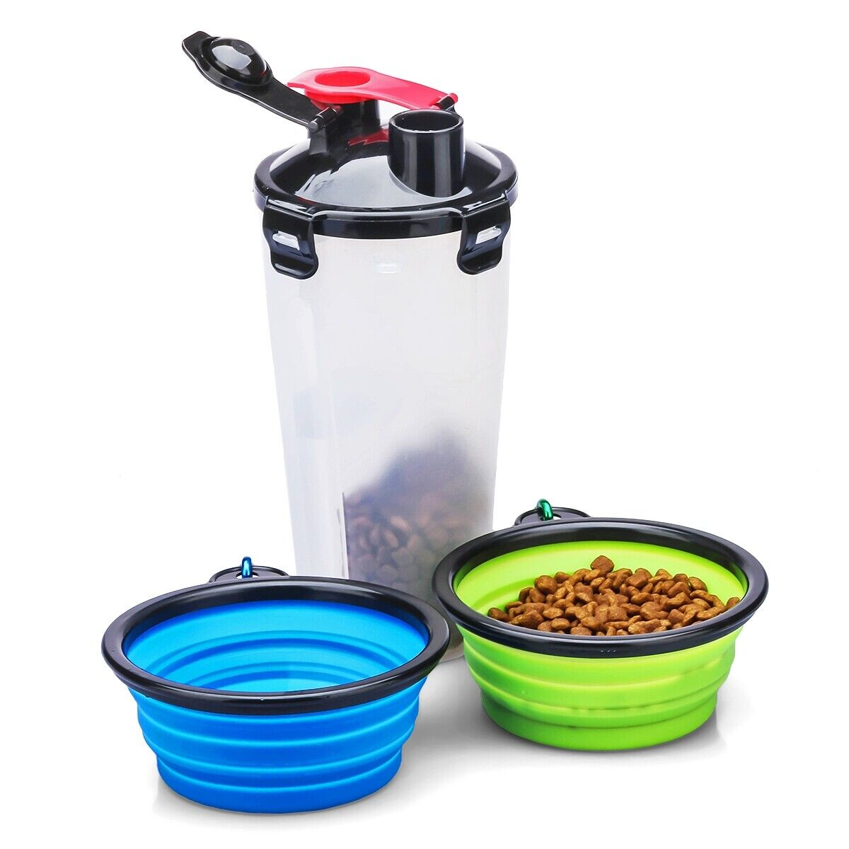 2-Chamber Design Pet Food Container Bottle Collapsible Dog Bowls BPA free Safe