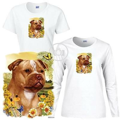 Staffordshire Bull Terrier Floral Art Ladies Short / Long Sleeve White T Shirt  Bull Terrier Ladies T-shirt