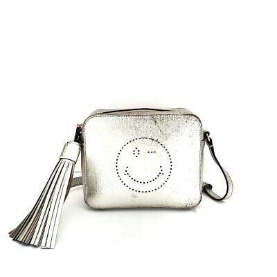 Auth Anya Hindmarch Silver Leather Shoulder Bag
