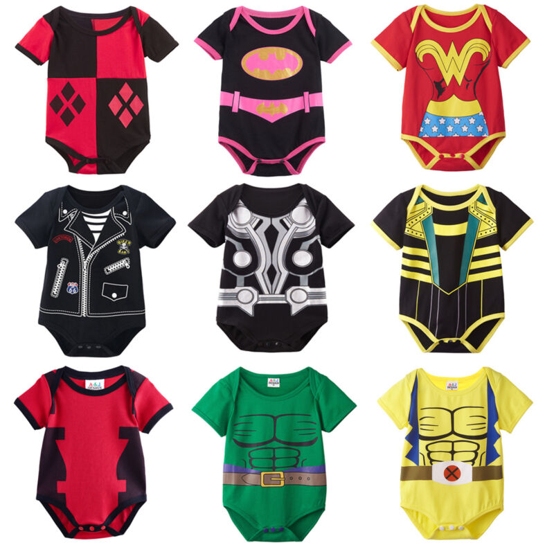 Baby Boy Girl Superhero Costume Bodysuit Newborn Playsuit Jumpsuit Cos Outfit