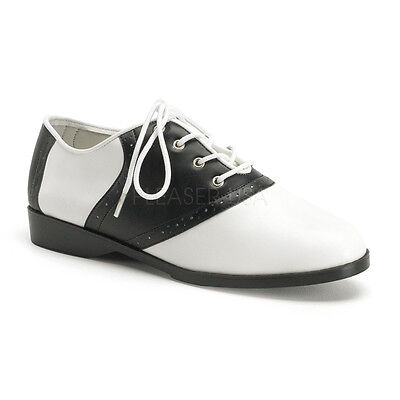 SAD50/BW/PU Women's Black & White Retro 50's Halloween Costume Saddle Shoes - Halloween Shoes For Women
