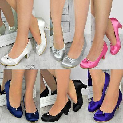 Womens Wedding Shoes Ladies Low Mid Heels Bridal Bridesmaid