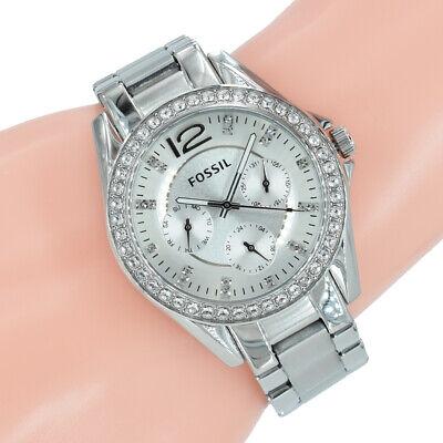 Fossil Damen Uhr ES3202 Riley Zirkonia Silber Edelstahl Armband ()