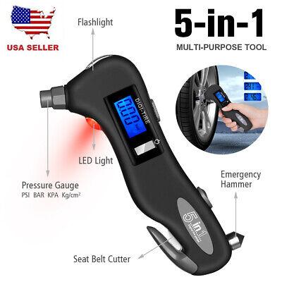 5 In 1 Tire Air Pressure Gauge Digital Car Bike Flashlight Window Breaker Cutter