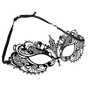 Laser-Cut-Metal-Venetian-Classy-Masquerade-Mask-w-Clear-Rhinestones-Mardi-Gras