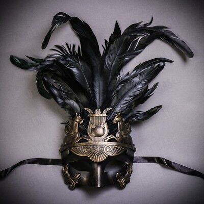 Venetian Party Masquerade Mardi Gras Tall Feather Mask for Men - Dark Gold Black (Venetian Masquerade Masks For Men)