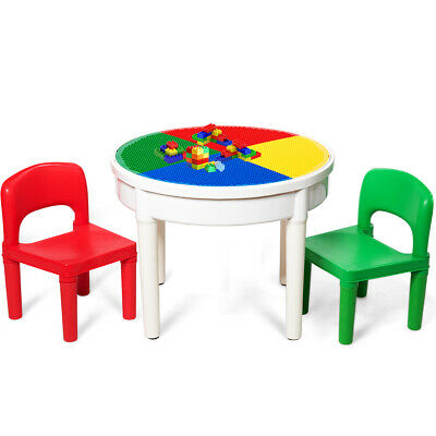3 In 1 Kids Activity Table Set Water Craft Building Brick Round Table w/ Storage Water Activity Table
