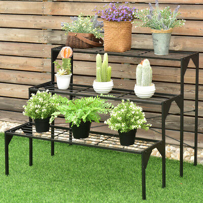 3 Tier Shelf Flower Plant Display Stand Rack Large Modern Black Metal Heavy Duty