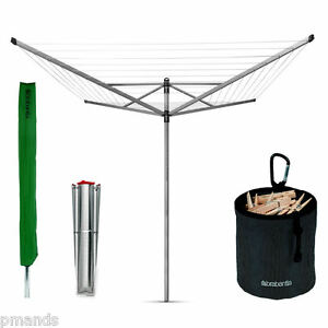 Brabantia 50m Lift-O-Matic Rotary Airer Dryer 4 Arm & Spike, Cover, Pegs & Bag
