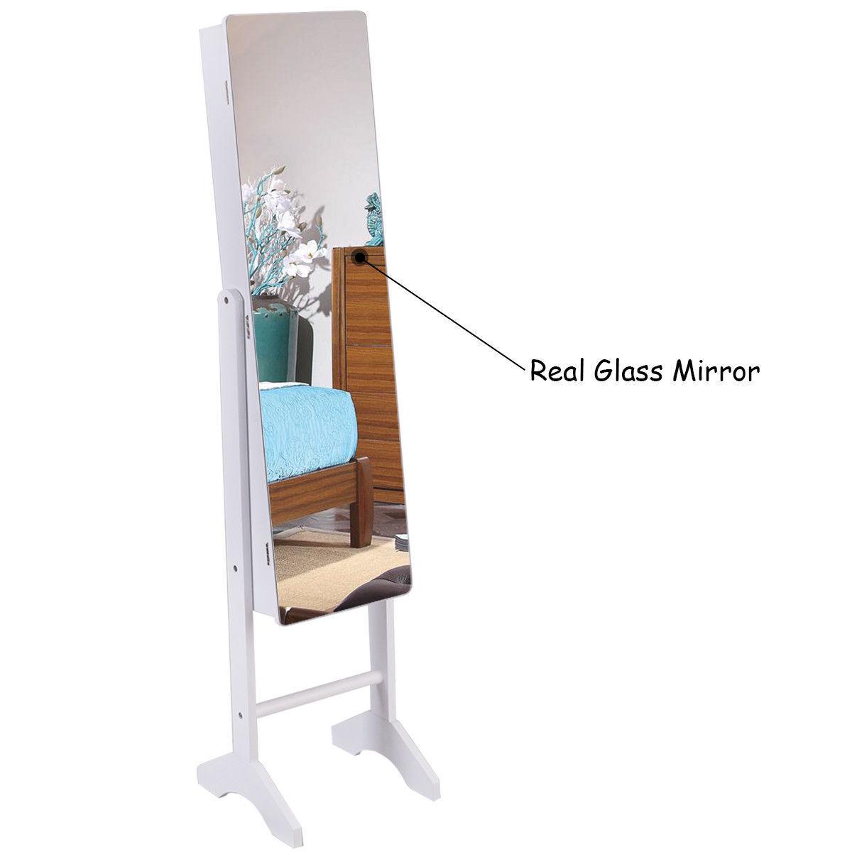 Freestanding Jewelry Mirror Storage Cabinet Armoire Organize