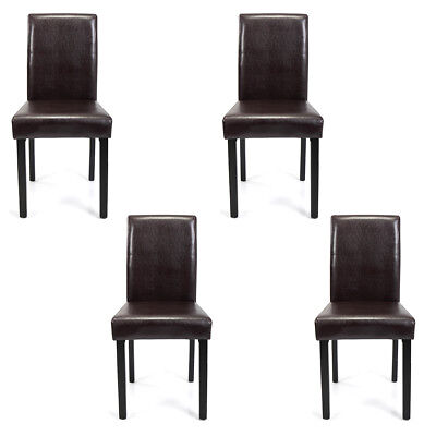 Set of 2/4/6/8/10 pcs Home Leather Elegant Design Dining Chairs Black/Brown 4 Brown Leather Chairs
