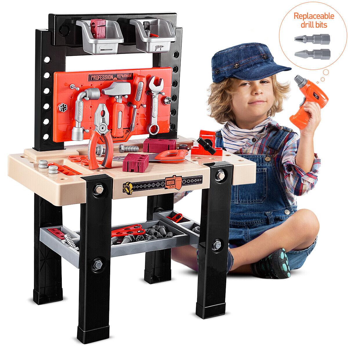 91pcs Boy Toy Tool Set Box Workbench Pretend Play Girl Kid D